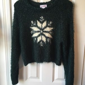 Anthro Shrinking Violet Fuzzy Snowflake Sweater L